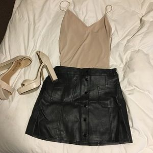 Black Leather Button Up Skirt -- H&M